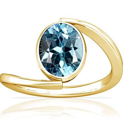Blue Topaz Gold Ring (A6)