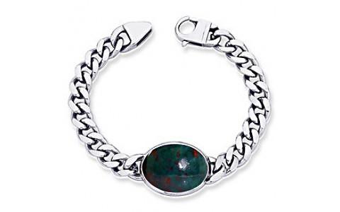 Bloodstone Silver Bracelet (B1)