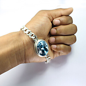 Blue Topaz Silver Bracelet (B1)