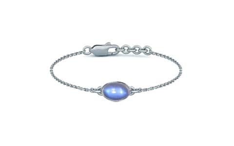 Blue Sheen Moonstone Sterling Silver Bracelet (B2) for Women