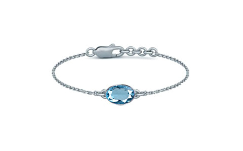 Swiss Blue Topaz Sterling Silver Bracelet (B2) for Women