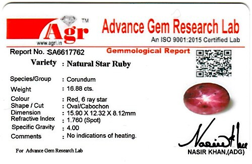 Star Ruby - 16.88 carats