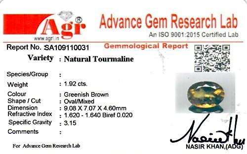 Greenish Brown Tourmaline - 1.92 carats