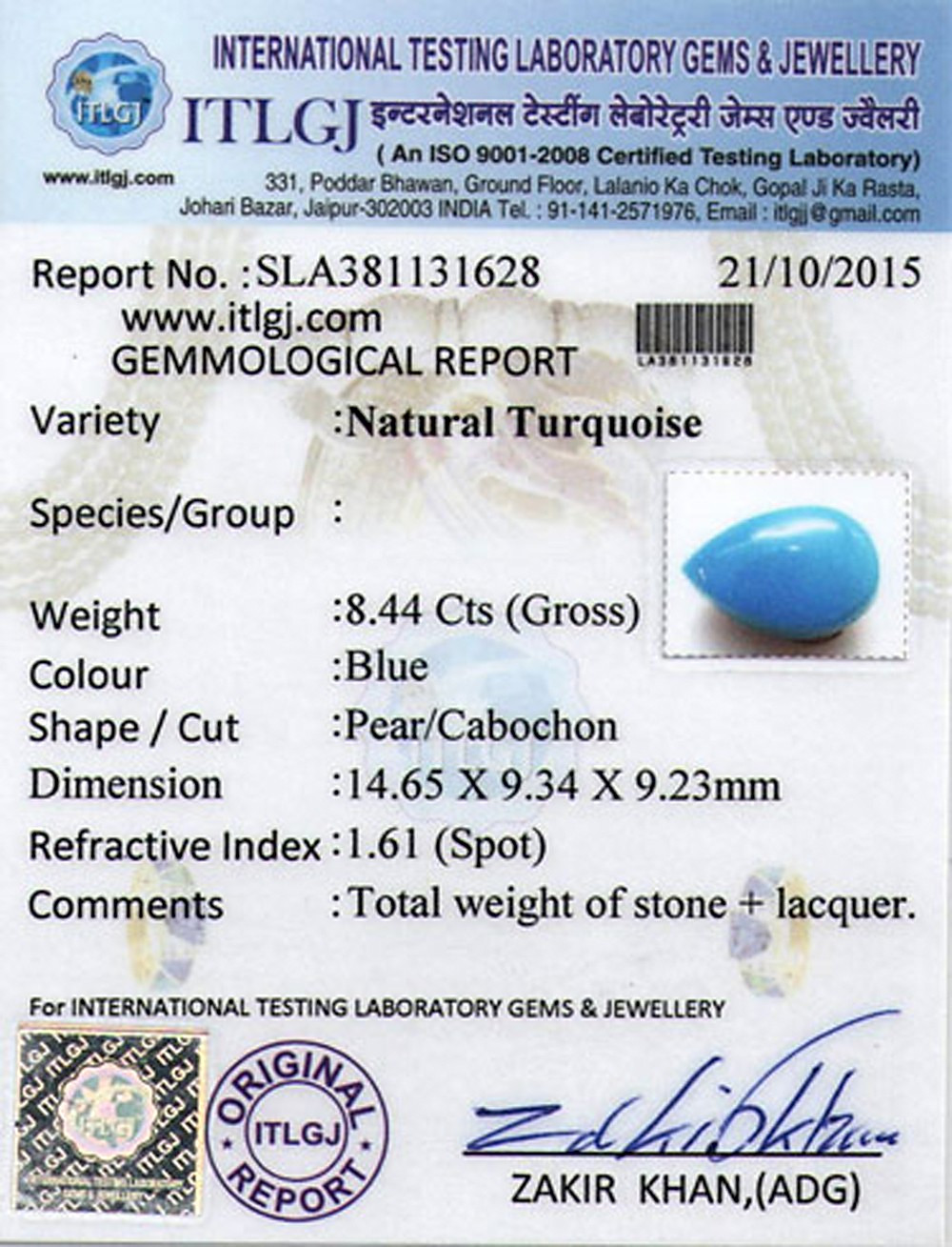 Turquoise - 8.44 carats