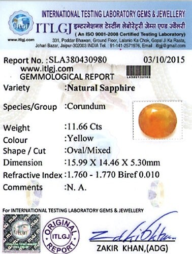 Yellow Sapphire - 11.66 carats