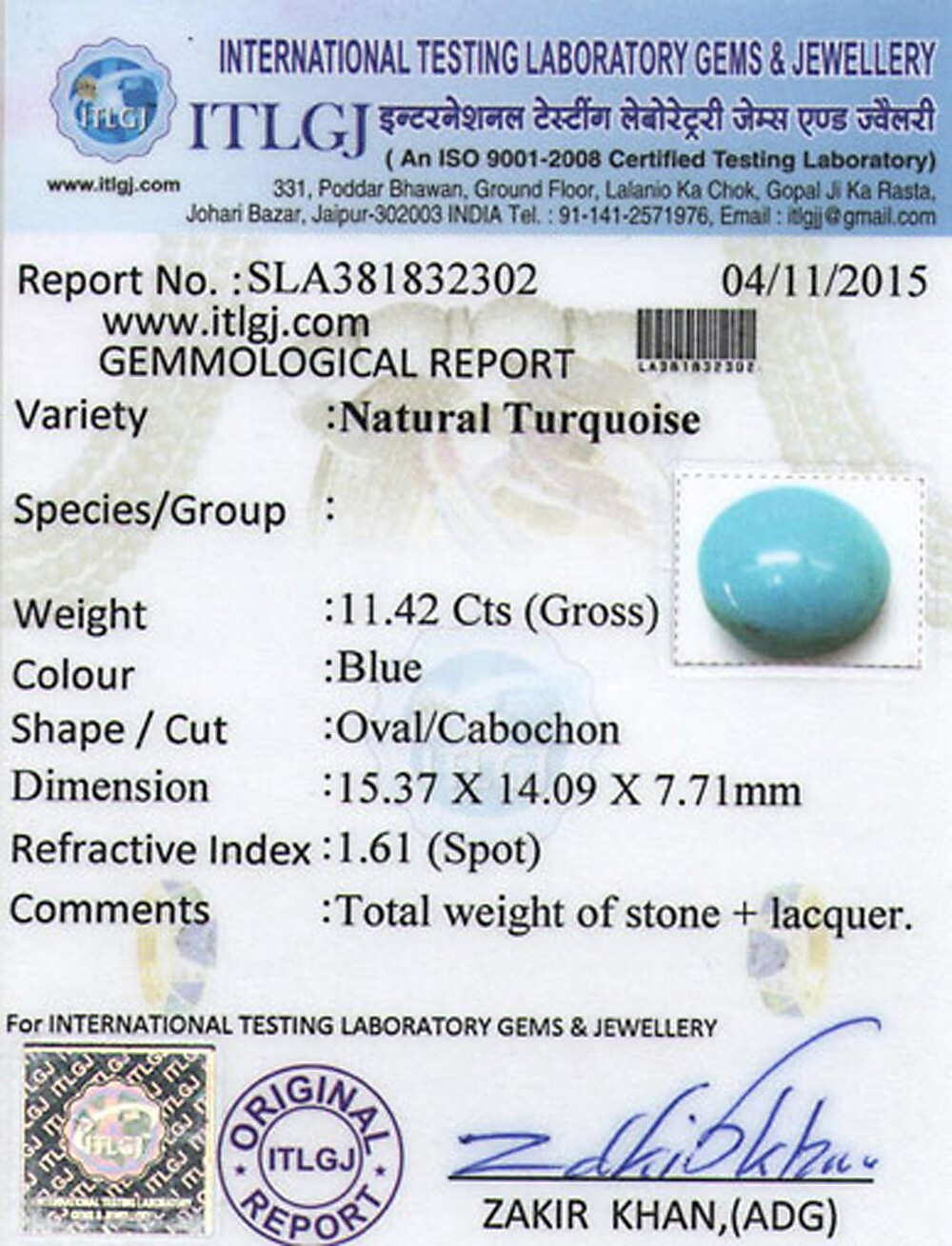Turquoise - 11.42 carats