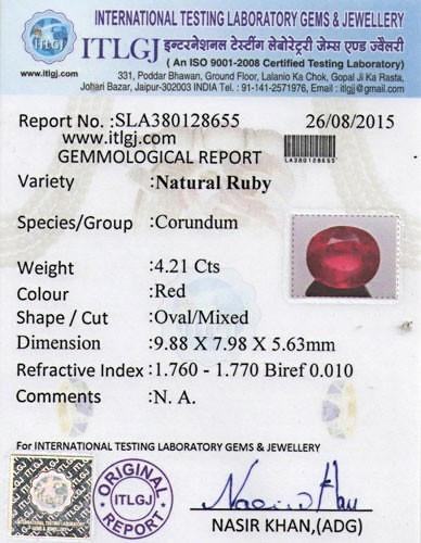 Ruby - 4.21 carats