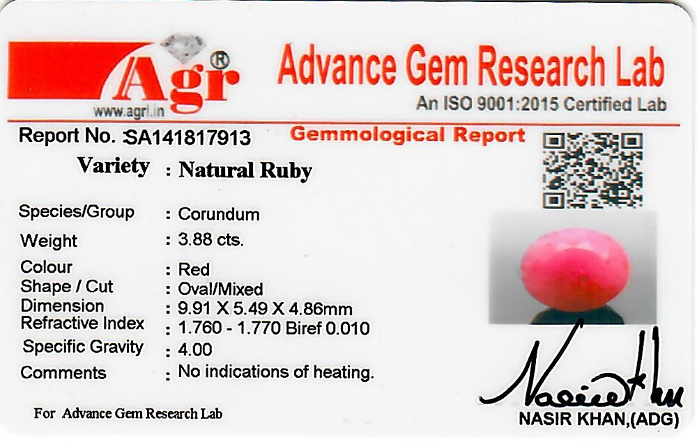 Ruby - 3.88 carats