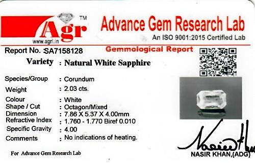 White Sapphire - 2.03 carats