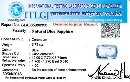 Blue Sapphire - 3.73 carats
