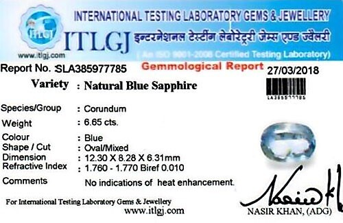 Blue Sapphire - 6.65 carats