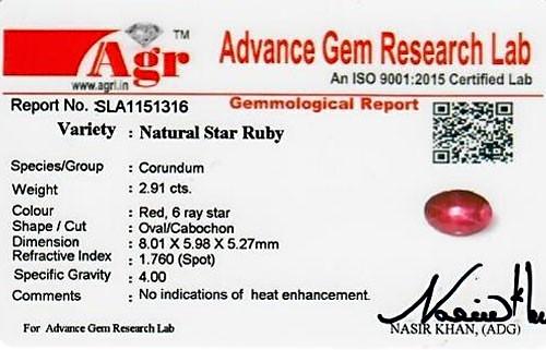 Star Ruby - 2.91 carats