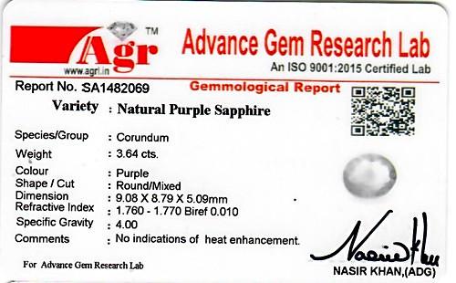Purple Sapphire - 3.64 carats