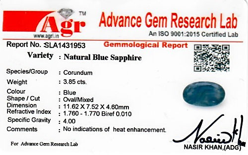Blue Sapphire - 3.85 carats