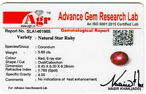 Star Ruby - 5.68 carats