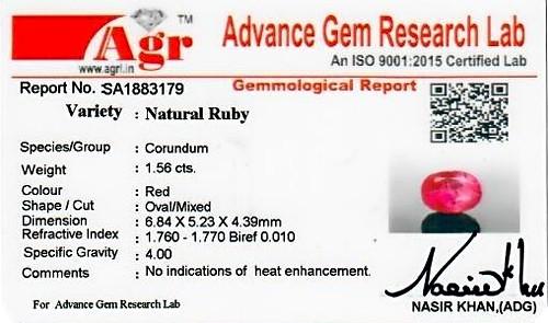 Ruby - 1.56 carats