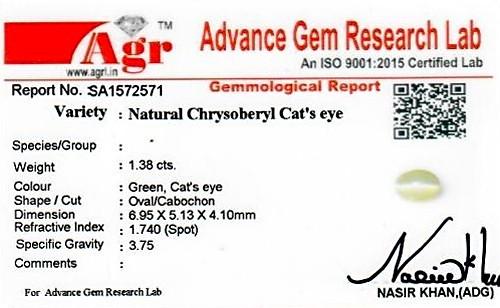 Chrysoberyl Cat's Eye - 1.38 carats