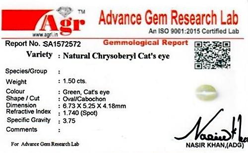 Chrysoberyl Cat's Eye - 1.50 carats