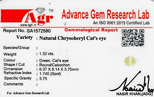 Cats Eye Chrysoberyl - 1.32 carats