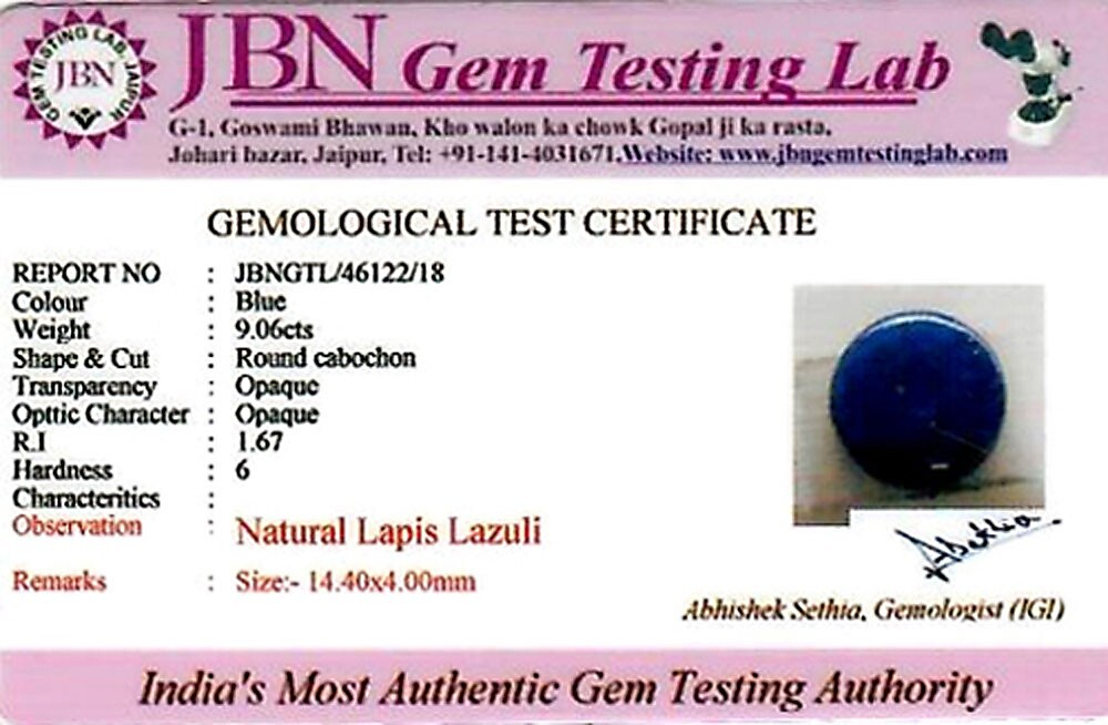 Lapis Lazuli - 9.06 carats