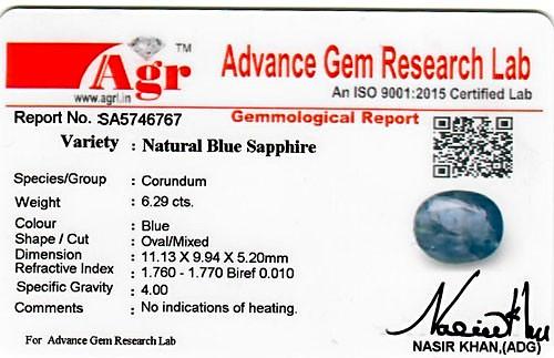 Blue Sapphire - 6.29 carats