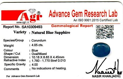 Blue Sapphire - 4.05 carats