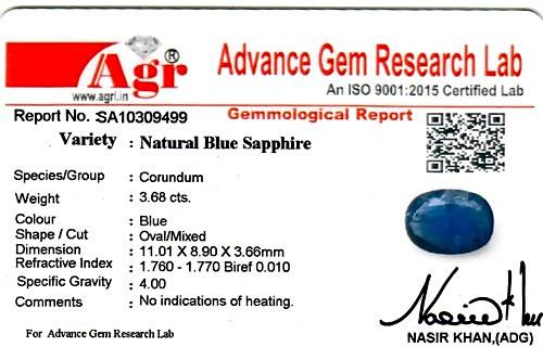 Blue Sapphire - 3.68 carats