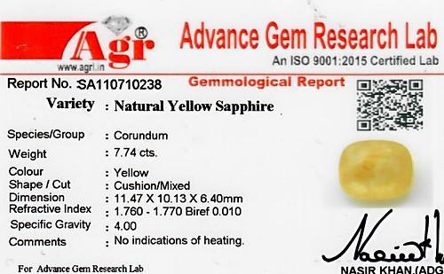 Yellow Sapphire - 7.74 carats
