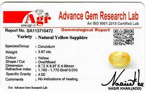 Yellow Sapphire - 3.67 carats