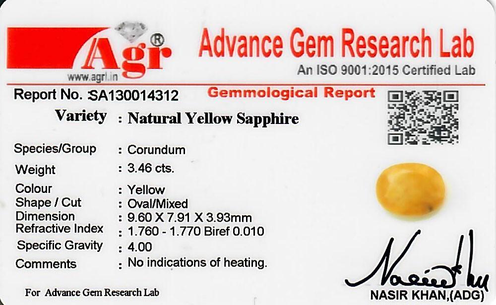 Yellow Sapphire - 3.46 carats