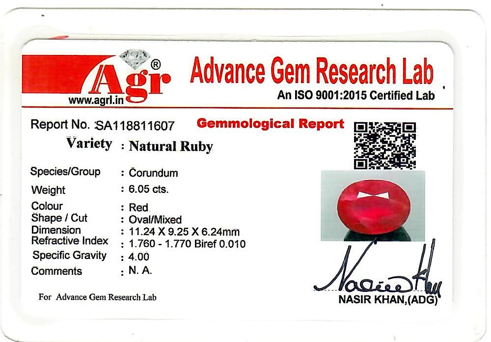 Ruby - 6.05 carats