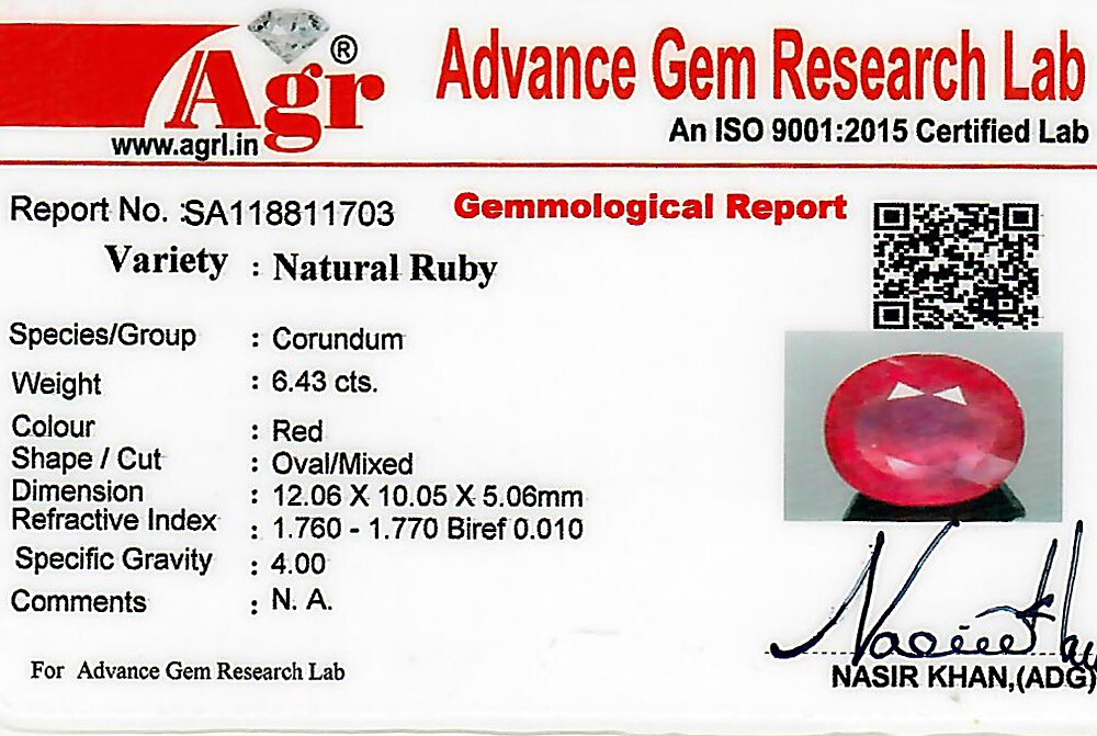Ruby - 6.43 carats