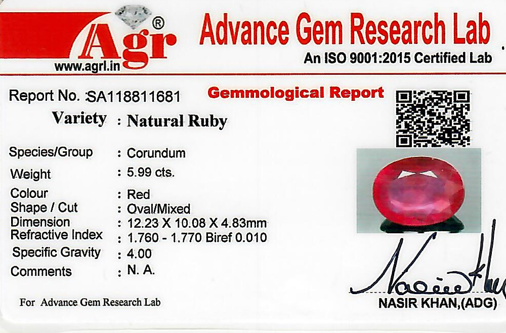 Ruby - 5.99 carats