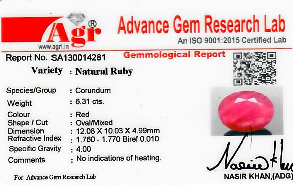 Ruby - 6.31 carats