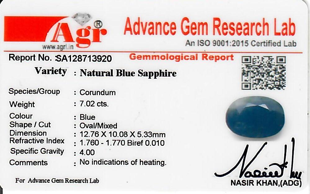Blue Sapphire - 7.02 carats