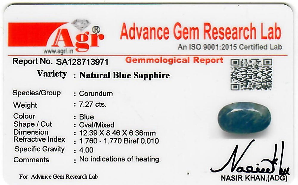 Blue Sapphire - 7.27 carats