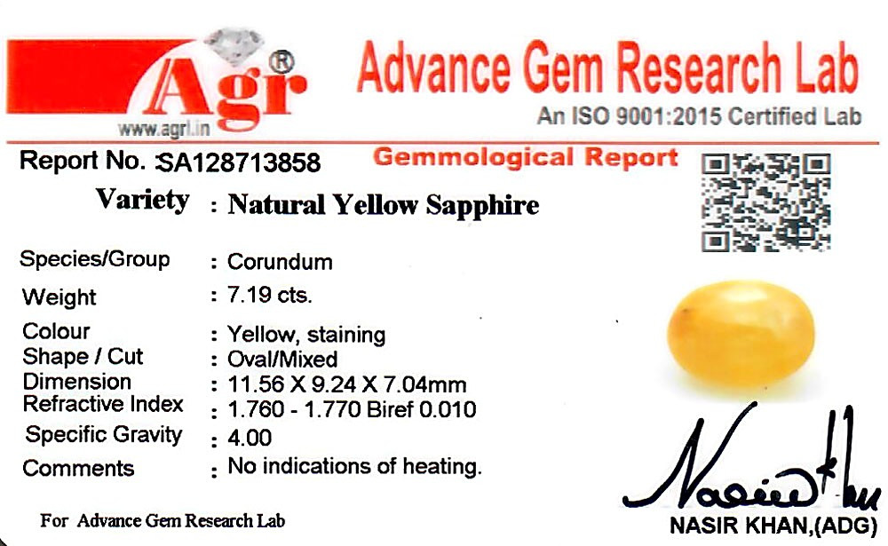 Yellow Sapphire - 7.19 carats