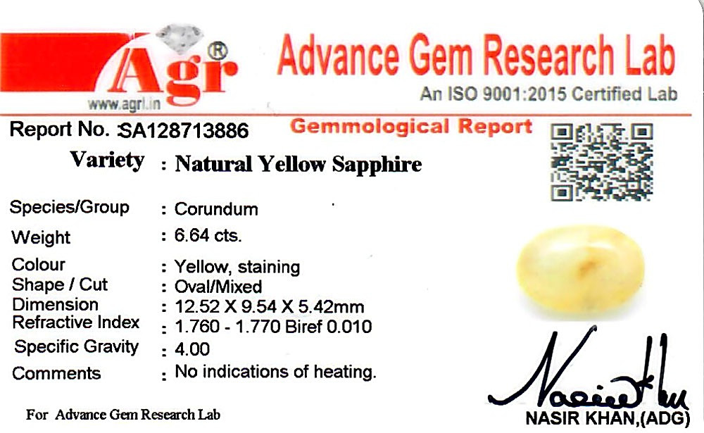 Yellow Sapphire - 6.64 carats