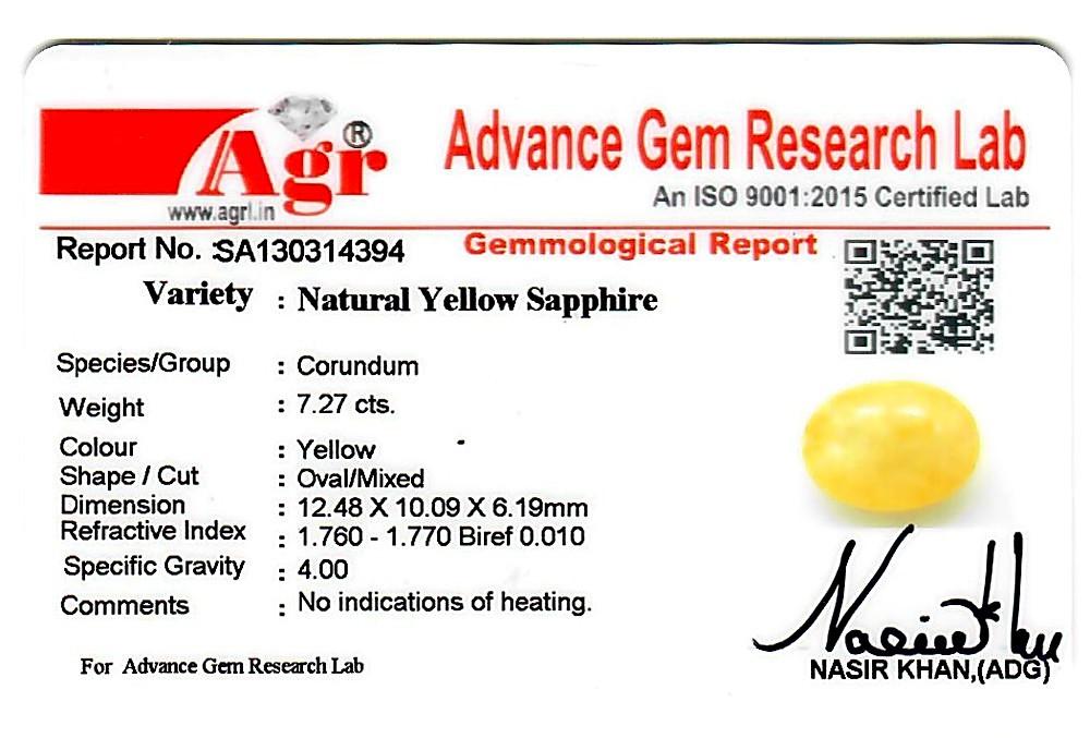 Yellow Sapphire - 7.27 carats