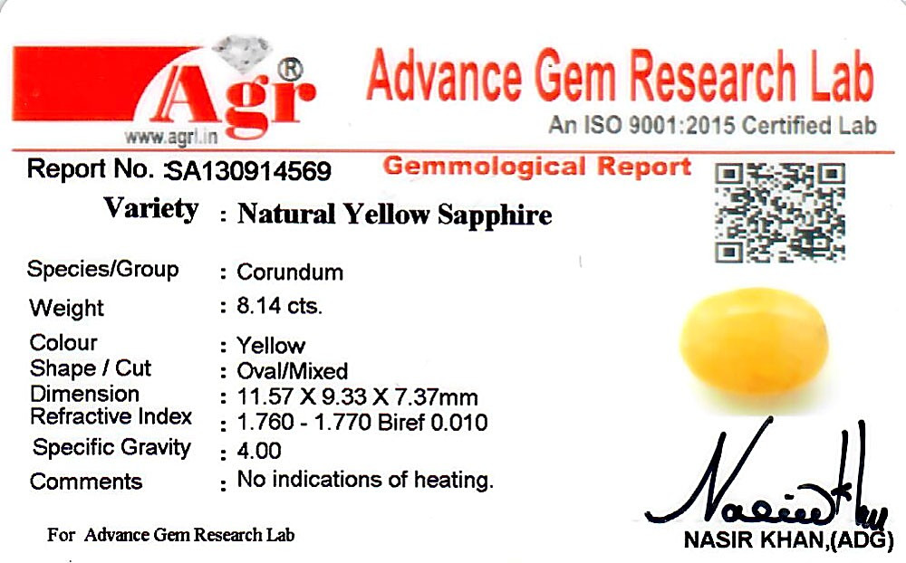Yellow Sapphire - 8.14 carats
