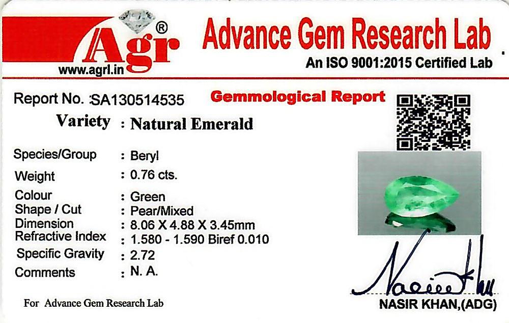 Emerald - 0.76 carats