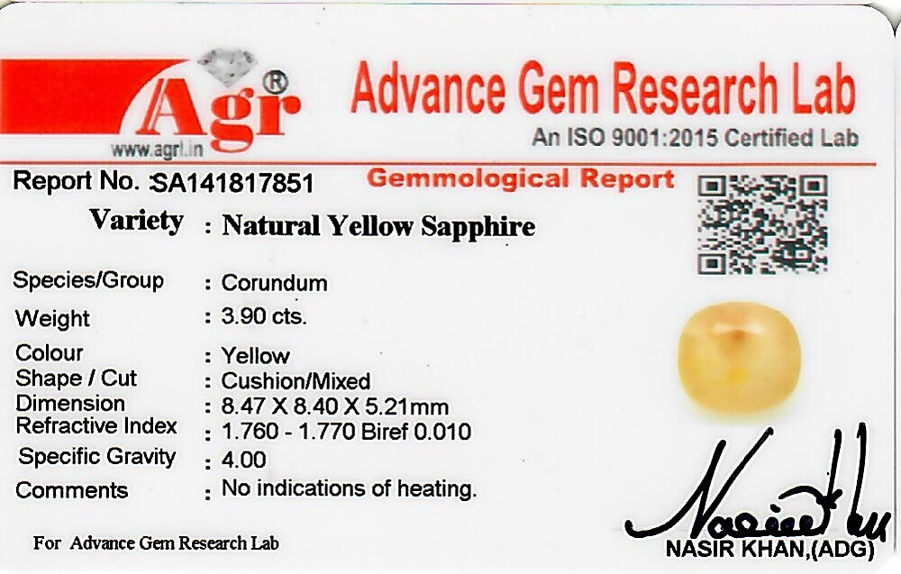 Yellow Sapphire - 3.90 carats