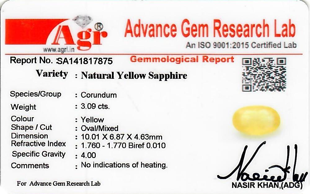 Yellow Sapphire - 3.09 carats