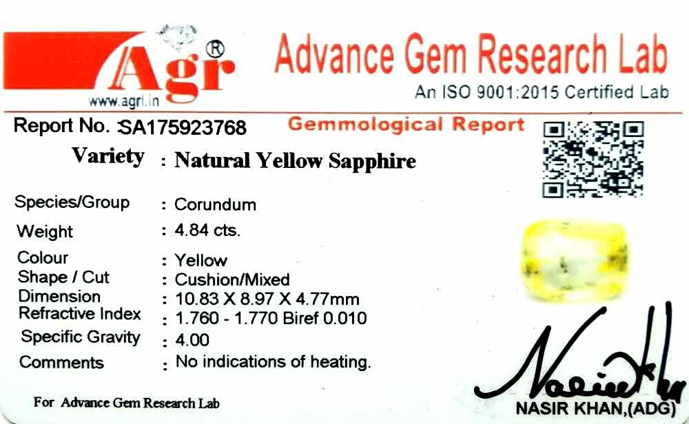 Yellow Sapphire - 4.84 carats
