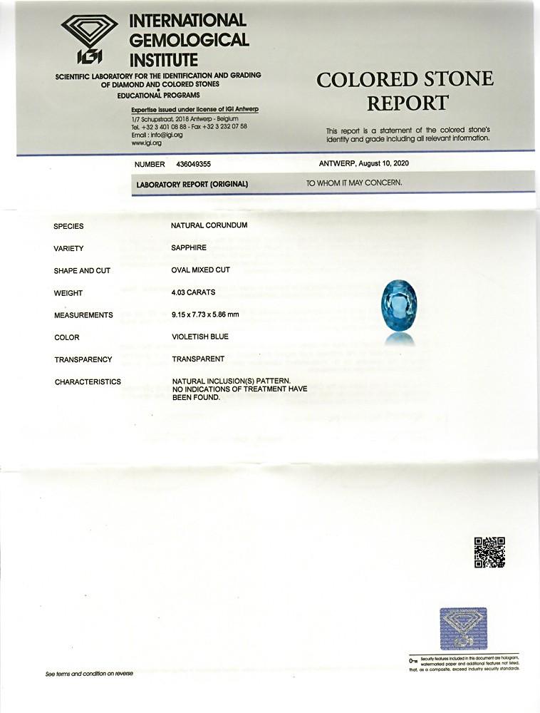 Blue Sapphire - 4.03 carats