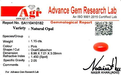 Pink Opal - 1.15 carats