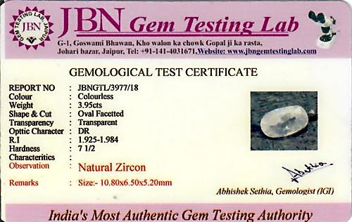 White Zircon - 3.95 carats