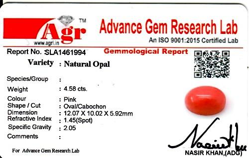 Pink Opal - 4.58 carats