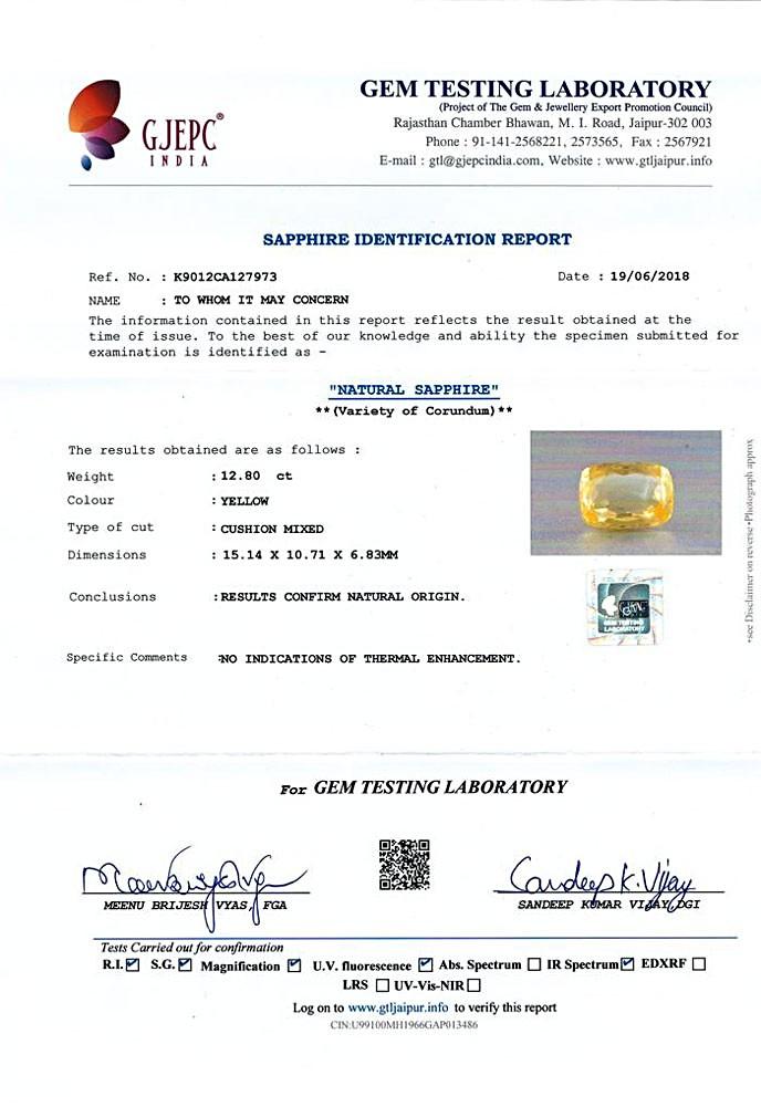 Yellow Sapphire - 12.80 carats