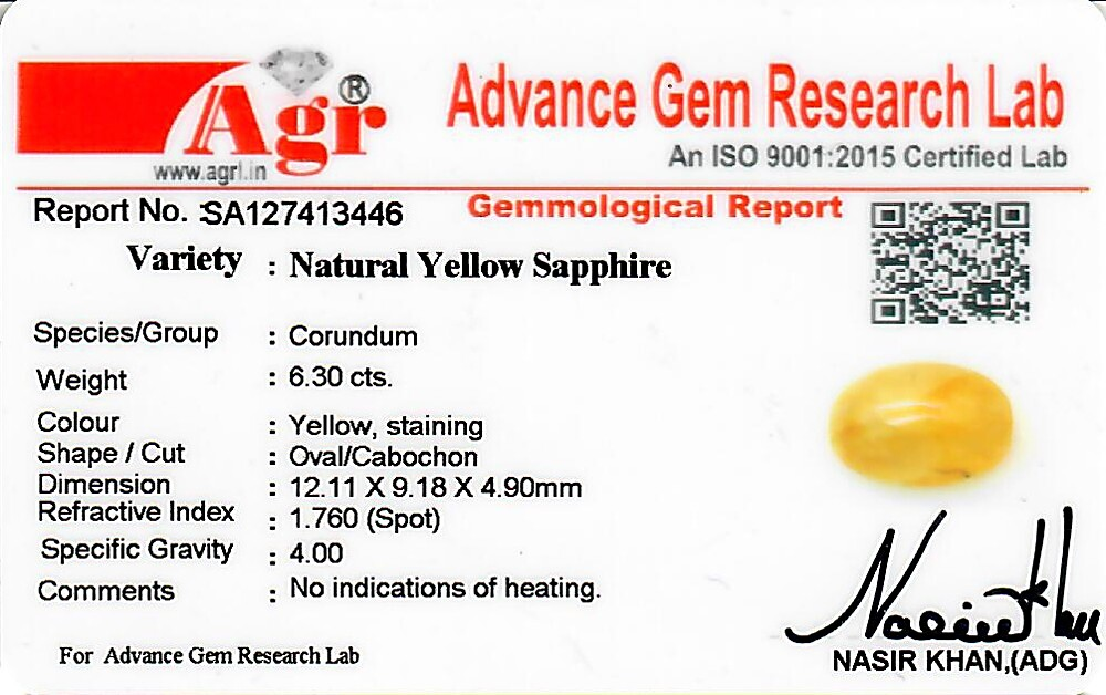 Yellow Sapphire - 6.30 carats